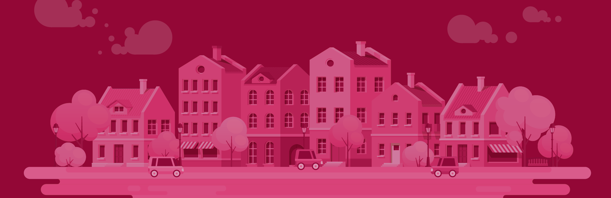 Illustration of a City in Pink